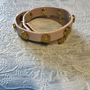 South hill Design pink and gold leather bracelet